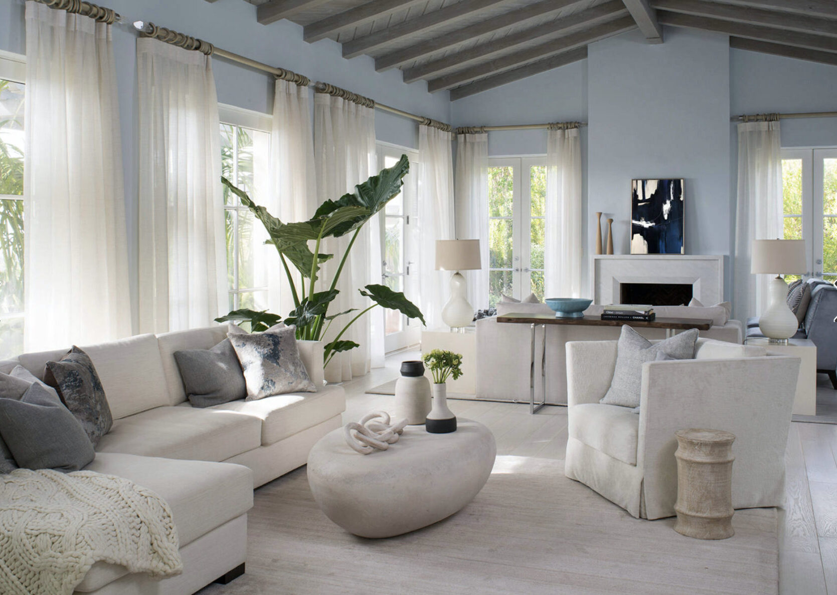 White and blue interior with botanical